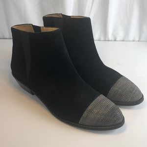 Joes Black Suede Ankle Booties Chain Toe 10
